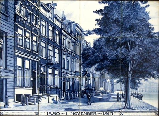 Distel, tegeltableau, decor Begin Herengracht, uitvoering Willem Hendrik van Norden, 1915 (coll. Meentwijck)