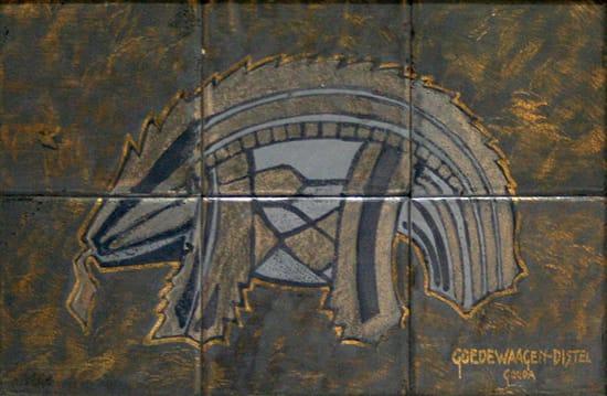Goedewaagen, tegeltableau, voorstudie tableau S.S. Nieuw Nederland, ontwerp C. A. Lion Cachet, uitvoering W. H. van Norden, 1928 (coll. KMG)