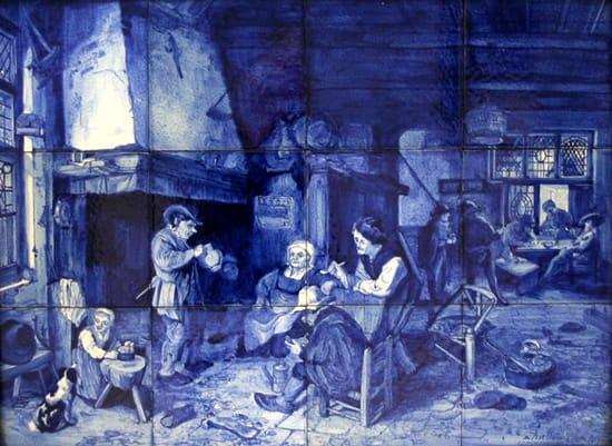Goedewaagen, tegeltableau, DB, decor Interieur herberg naar Adriaen van Ostade, olieverf in Rijksmuseum, 1935, uitvoering W.H. van Norden (coll. Ellen Westenberg)