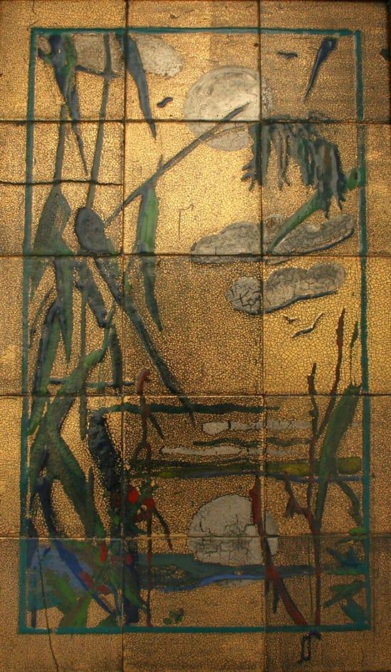 Goedewaagen, tegeltableau, Japonaiserie rietlandschap, naar Nihongu uit Kyoto, ontwerp en uitvoering Dick-Kikkert (coll. KMG)