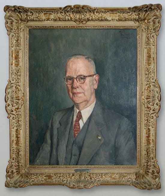 Olieverfportret van Aart Goedewaagen II uit 1952, geschilderd door Bart Peizel (Coll. Erven A. Goedewaagen III)