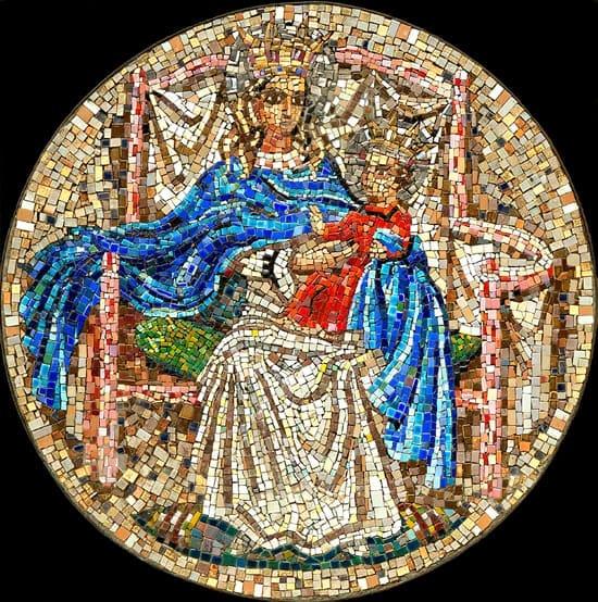 Goedewaagen, mozaïek, tondo in Byzantijnse stijl, ontwerp en uitvoering Lode Sengers (coll. Erven Aart Goedewaagen III)