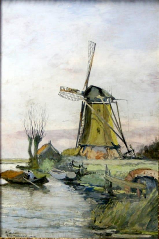 PBD, tegelplaat, decor Molengezicht, unicum Corns-de-Bruin, 1909 (coll. Bert-Jan Baas)