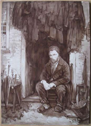PBD, tegelplaat, sepiakleurig, naar.Jozef Israëls, Zoon van het oude volk, 1909 (coll. Bert-Jan Baas)