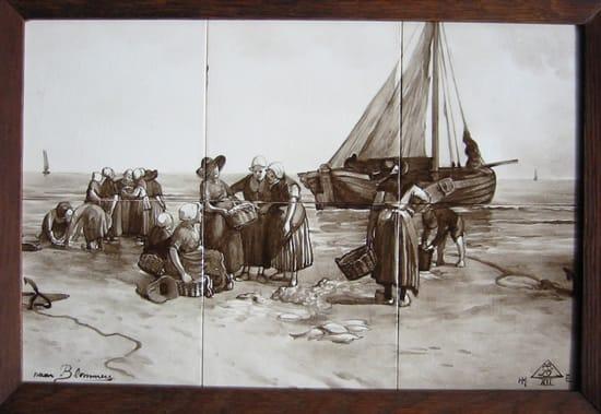 PBD, tegeltablea, sepiakleurig, naar B. L. Blommers, 'Terugkeer van de vissers' (coll. Bert-Jan Baas)