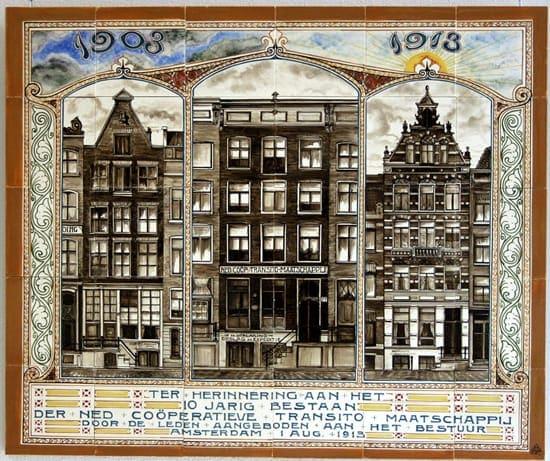 PBD, gelegenheidstableau, decor 10-jarig bestaan Transito-maatschappij, 1910 (coll. Meentwiijck)