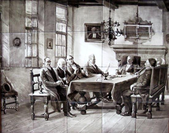 Rozenburg, tegeltableau. sepiakleurig, naar Gerke Henkes 'Bestuur Oudemannenhuis', uitvoering Daniël Harkink (coll. Bert-Jan Baas)