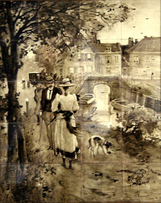 Rozenburg, tegeltableau, sepiakleurig, ontwerp en uitvoering Cornelis Koppenol, (coll. Meentwijck)
