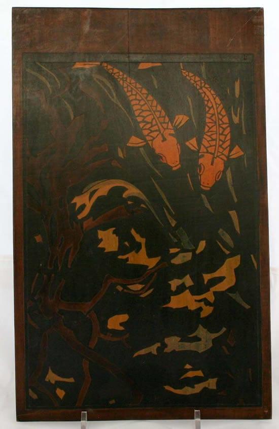 Dick Kikkert, paneelschildering met motief karpers, ca 1930 (coll. KMG)