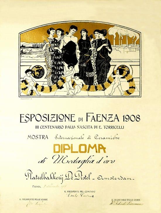De Distel, diploma van Faënza in 1908 (coll. Bert-Jan Baas)