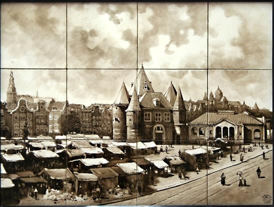 Holland-Utrecht, Gezicht op de Nieuwmarkt, Amsterdam, voor 1906; coll. Meentwijck