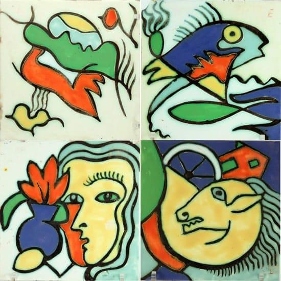 Goedewaagen, vierdelige tegelstrip, 15 x 15 cm per tegel, met speelse citaten naar Miro, Picasso en Der Blaue Reiter, 1953-1955 (coll. Patrick en Nicky van Bekkum)