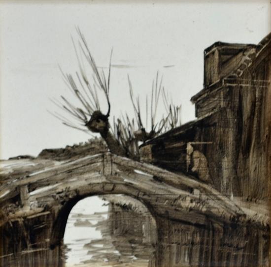 Rozenburg, tegel, 'Bruggetje, door Willem de Zwart (coll. Meentwijck)