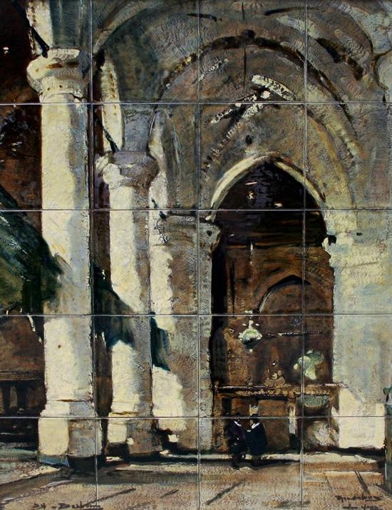 Rozenburg-tegeltableau, Interieur van de Grote of Jacobskerk in Den Haag, door Daniël Harkink naar J. Bosboom, ca 1899 (coll. Meentwijck)
