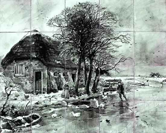 Rozenburg, tegeltableau, 'Wintertje', door Cornelis Koppenol en Daniël Harkink (coll. Meentwijck)