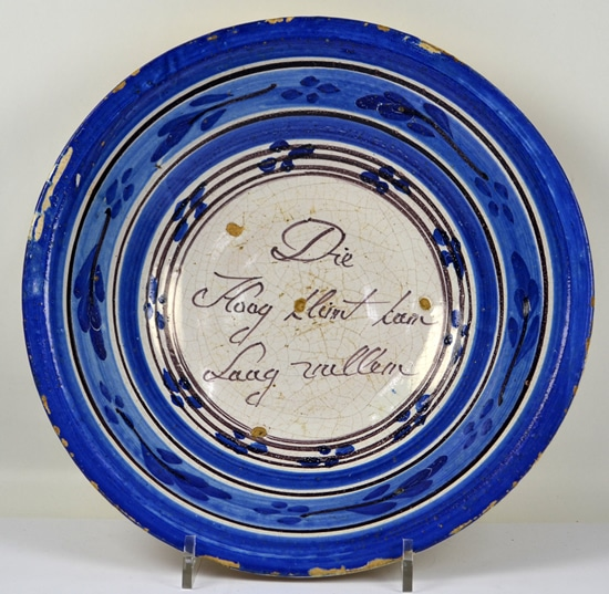Tjallingii, Harlingen, spreukenbord, diam. 29,8 cm; coll. Righard Atsma.