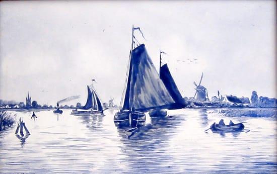 E.N.K.K.. tegelplaat, riviergezicht in Delfts Blauw (coll. Bert-Jan Baas)