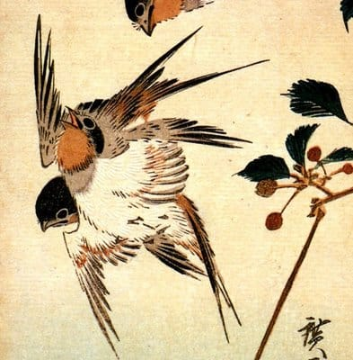 Utagawa Hiroshige, detail kleurhoutsnede, spreeuwen